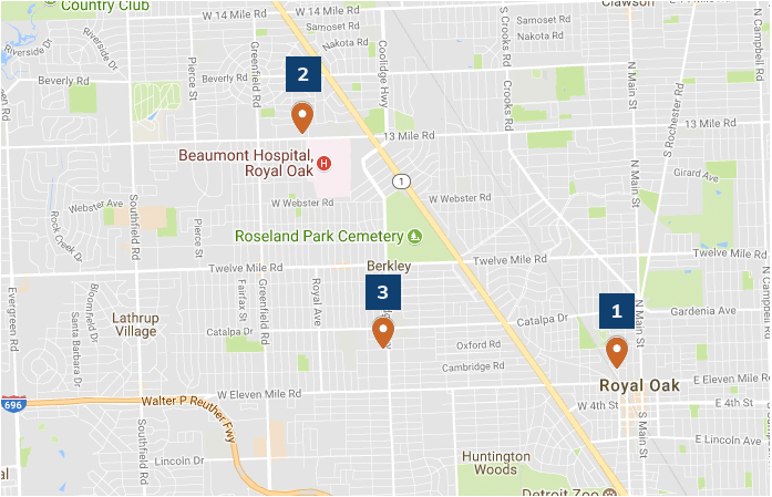 Map of Metro Detroit area zoomed in on Royal Oak and Berkeley showing community locations